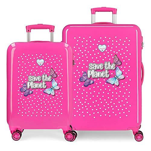 Enso Save The Planet Juego de Maletas Rosa 55/68 cms Rígida ABS Cierre combinación 104L 4 Ruedas Dobles Equipaje de Mano
