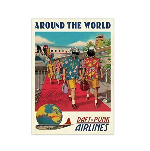 SIGNCHAT Daft Punk Around The World Poster EDM Poster Minimalist Wall Art Rip Daft Punk Poster Metal Tin Sign 8x12 inch