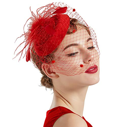 Coucoland Feder Fascinators Hut Damen Blumen Mesh Elegant Hochzeit Fascinator Haarreif Cocktail Tee Party Accessoires (Rot)
