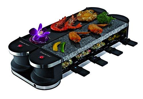 SUNTEC Raclette Grill – 2 x drehbare Grill Platte | Tischgrill für 8 Personen | inkl 8 x Pfannen + 8 x Spatel | doppelseitige Grillplatte | Steinplatte | max 1400 Watt | RAC-8069 Flex 8 metal/stone