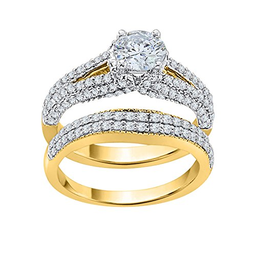 KATARINA Diamond Bridal Set in 14K Yellow Gold (1 1/2 cttw, J-K, SI2-I1) (Size-5)