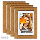 Hongkee 5x7 Picture Frames set of 4, Made of Solid Wood and High-Definition Glass, Rustic Photo Frames for Wall or Tabletop Display, Baked Brown(HK022015-SD5X7-DRB(4PK))