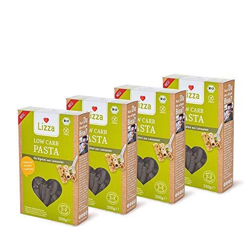 Lizza Low Carb Pasta | Bio. Glutenfrei. Vegan. Kohlenhydratarm. Proteinreich. Ballaststoffreich | Geeignet für Vegane, Glutenfreie und Keto Ernährung | 4x 250g Packung
