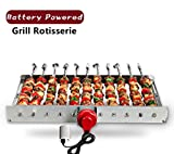 HAOONE Portable Battery Operated Automatic BBQ Grill Rotisserie with 11 Skewers