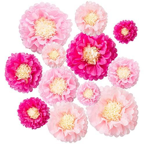 """LIHAO 12 Pezzi Pom Pom di Carta Rose, Accessori Decorativi per la Casa, Cerimonie di Nozze, Matrimonio, Compleanno, Festa 6"""" 8"""" 10"""" 12"""""""