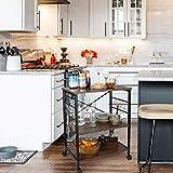 Himimi Küchenregal Servierwagen mit 3 Ablagen Standregal Mikrowellenregal mit 10 Haken Küchenregallagerung Beistellwagen Dunkelbraun - 6