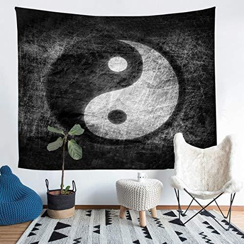 Loussiesd Yin Yang Tapiz para niñas y niños Boho Trippy Arte psicodélico colgante de pared decorativo chismes manta tradicional Ying Yang manta de cama mediana 137 x 127 cm