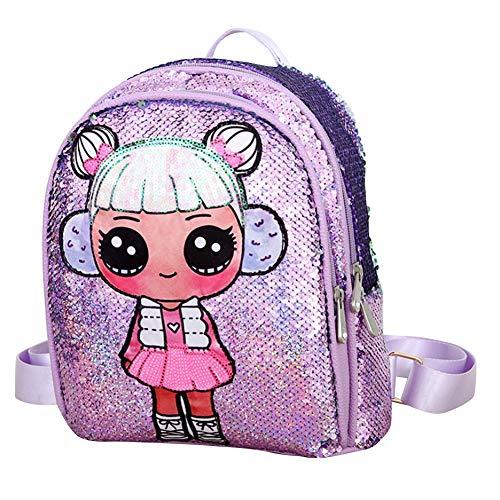 Mochila de lentejuelas para niños Mochilas para Niñas y niños con doble cremallera Preciosa mochila de moda para libros juguetes viajes
