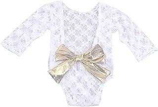iSpchen iSpchen Neugeborenes Baby Kinder Fotografie Requisiten Spitze Backless Baby Mädchen Jungen Strampler Outfit Kleidung Geschenk Weiß