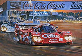Duel at Sunset Coca-Cola Racing Print Signed by Bob Akin, Hans Stuck & Derek Bell