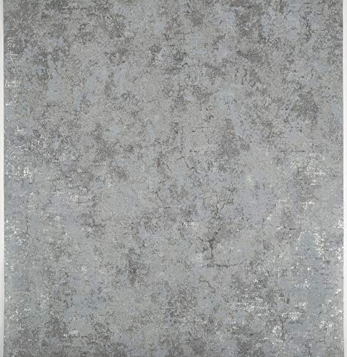 Birwall Stained Cement Concrete Wallpaper Wallcoverings in Livingroom Bedroom Kitchen, 54 Square Ft/roll (Grey 1)