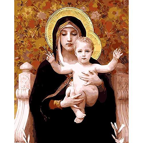 XSHSZYH Pintura por Números Decoración De La Pintura Al Óleo De La Madre Imágenes De Dioses por Números Fotos Digitales para Colorear A Mano Decoración del Hogar Virgen María