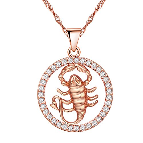 Uloveido 12 Zodiac Scorpio Necklace Birthday Gift Rose Gold Plated with Cubic Zirconia Pendant Jewelry Constellation Necklace Nov 22th to Dec 18th Scorpion