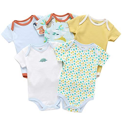 Pack de 5 Bebé Niños Body Mono de Manga Corta Mameluco Algodón Peleles Comodo Pijama Regalo de...