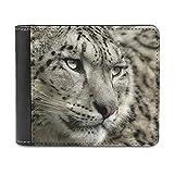 Snow Leopard - Cartera de cuero minimalista delgada, con clip de dinero para hombres y mujeres, White, Talla única