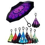 Doble Capa de Paraguas Invertido, Sol y la lluvia Paraguas,Parasol de Protección Contra el Viento Ultravioleta de Reversa con Mango en Forma de C Para el Coche de Viajes al Aire Libre (Violeta)