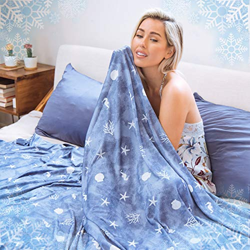 Cooling Blanket with Double Sided Cold, Queen Size Big Oversized Bed Blankets, Lightweight Breathable Summer Coastal Beach Theme Blanket,Transfer Heat for Hot Sleepers Night Sweats, with Travel Bag