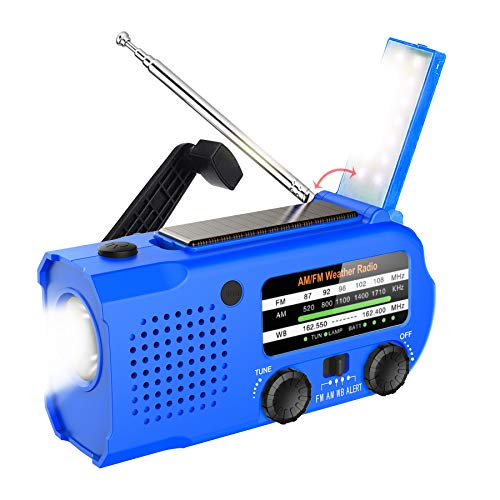 weather radio for kids Lukasa 5000mAh Emergency Hand Crank Portable AM/FM/NOAA Weather Radio, Rechargeable Solar Radio with LED Flashlight, Phone Charger, Reading Lamp,SOS Alarm(Blue)