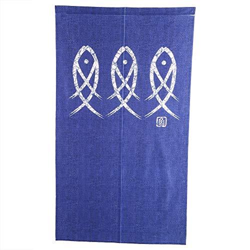 Cortina de Puerta Azul + Blanca, Hecha de Tela de Corte Medio con Cortina de Cuerda de Puerta de Tijeras