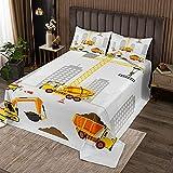 Kinder Tagesdecke Konstruktion Auto Druck Bettüberwurf Cartoon paw Patrol Steppdecke Dekorative Weiche Mikrofaser Wohndecke für Jungen Kinder 240x260cm + 80x80cm