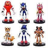 Mdcgok Yangzou 6 unids/Set Anime Sonic The Hedgehog Juguete 5-8 Cm PVC Figura de acción muñeca Modelo Juguete niños