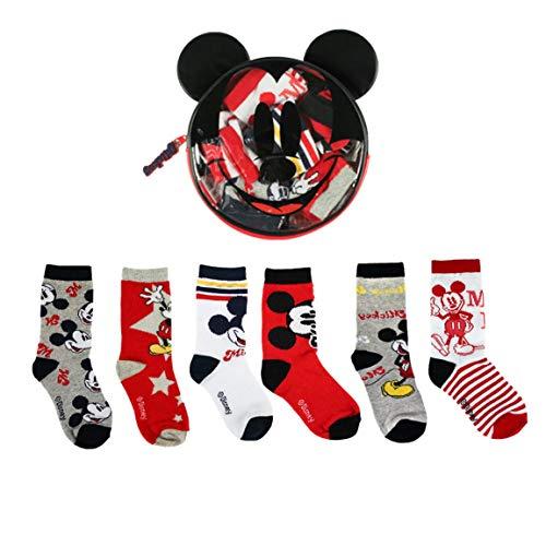 Disney Mickey Mouse Calcetines para Niños, Pack Múltiple de 6 Calcetines, 100% Algodón Suave, Juego de Calcetines, Incluye Bolsa Pequeña, 2 a 6 Años (3 a 4 Años)