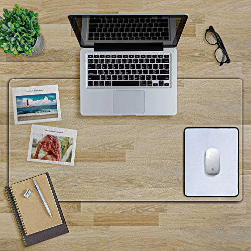 Clear Desk Mat - Non Slip Desktop Mat - 36 x 17 inches - 1.5mm Thick Desk mats on top of desks - Clear Protector Cover - Textured/Frosted Desk Writing Mat for Office and Home with Mouse Pad…