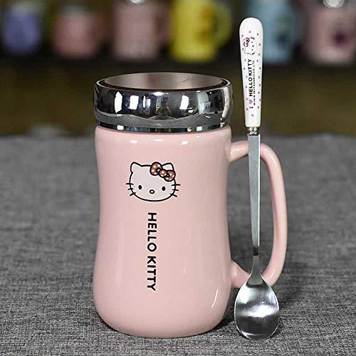 Tasse à café Dessin Animé Hello Kitty Bouilloire En Céramique Lady Girl 430ML Kettle Cup Avec Coaster Spoon Cover A