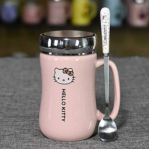 Kaffeetasse Cartoon Hello Kitty Keramikkessel Lady Girl 430ML Kettle Cup Mit Untersetzer Löffel Cover A