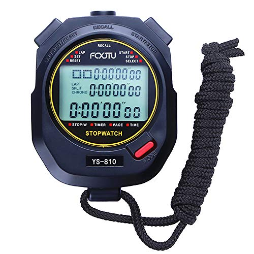 FCXJTU Professional Stopwatch Timer, 3-Row 10 Lap /Split Memory Count up/Down Timer, Extra Large Display with Pace Mode Clock Alarm Calendar Includes Battery, Lanyard for P.E Coach and Sport Events