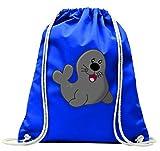 'Turn Bolsa 'Sello de animales de Acuario de circo de Mar de Zoo de foca de Fröhlich con cordón–100% algodón de bolsa Con Asas De Mochila de bolsa de deporte, azul