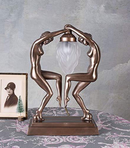 Puristische Art Deco Lampe nackte Tänzerinnen erotische Tischleuchte IS097 Palazzo Exklusiv