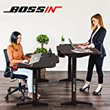 BOSSIN 55 x 26 Inches Dual Motor Height Adjustable Electric Standing Desk, Sit Stand Home Office and Gaming Style Table with Full Desk Mouse Pad, Carbon Fiber Top and Programmable Preset Controller