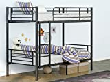 mecor Metal Bunk Bed Twin Over Twin, Heavy Duty Bed Frame with Safety Guardrail & Removable Ladder, Space Saving - for Kids/Teens/Adults, Black