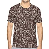 LLALUA Mens 3D Printed T Shirts,Hand Drawn Style Pattern with Coffee Tea Cups Donuts and Sweets L