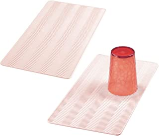 mDesign Silicone Dish Drying Mat and Protector for Kitchen Countertops, Sinks - Chevron Design - Non-Slip, Waterproof, Heat Resistant, Dishwasher Safe - Small - 2 Pack - Light Pink