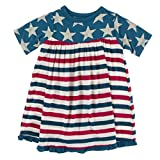 KicKee Pants 4th of July Vintage Stars and USA Stripes Swing Dress for Girls, Short Sleeves, Soft Baby and Girl Clothes (Vintage Stars - 3-6 Months)
