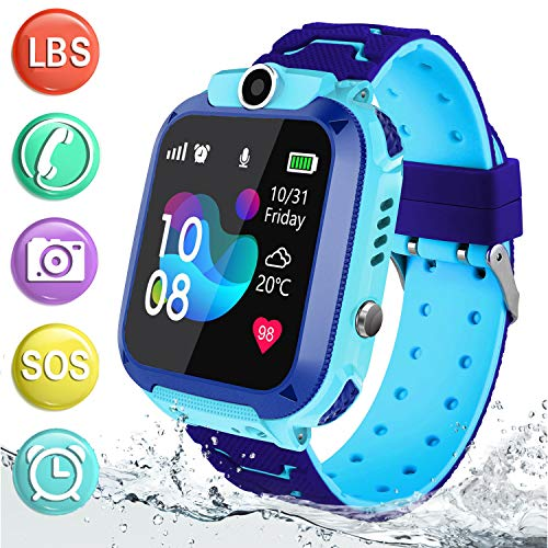Kids Smart Watch Waterproof with AGPS LBS Tracker Phone Smartwatch Touch Screen Sport Smartwatch with Voice Chat SOS Help Anti-Lost Calling Phone Watches for Girls Boys Children Teen Student (Blue)