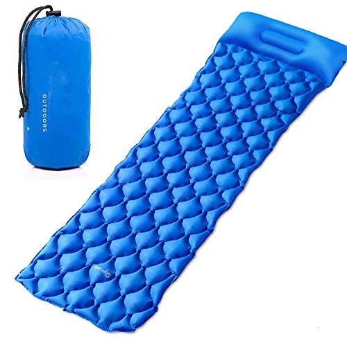 Best Panda Camping Sleeping Pad, Inflatable Camping Mat with Pillow, Ultralight Sleeping Pad for Backpacking, Camping, Hiking (Blue)