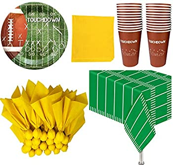 Football Themed Party Supplies and Decorations - 24 Party Cups 24 Paper Dinner Plates 24 Penalty Flag Paper Napkins 24 Yellow Paper Napkins 1 Plastic Tablecloth