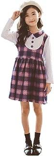 FTSUCQ Girls Long Sleeve Checkered Printed Twirling Princess Dress