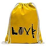 Kiwistar Pistolas Amor Divertida Mochila Deportivo para el Fitness. Gymbag para lo Shopping de algodón con cordón, Unisex Adulto, Amarillo, 37 x 46cm