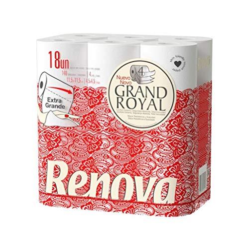 Renova Grand Royal Toilettenpapier, 4-lagig, 18 Premium-Rollen, extra groß