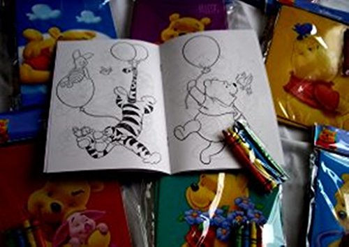 Coloring Book 12 Sets of Disney Winnie The Pooh & Friends and Crayon Set Children Party Favors Bag Filler