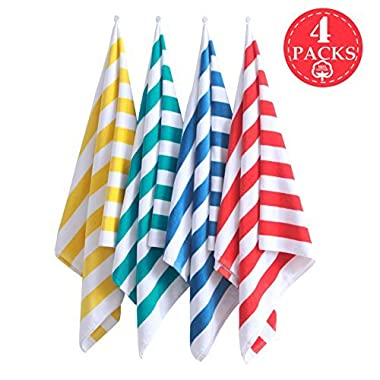 Exclusivo Mezcla 4-Pack 100% Cotton Cabana Striped Beach/Pool/Bath Towel(30  x 60 )—Soft, Quick Dry, Lightweight, Absorbent and Plush