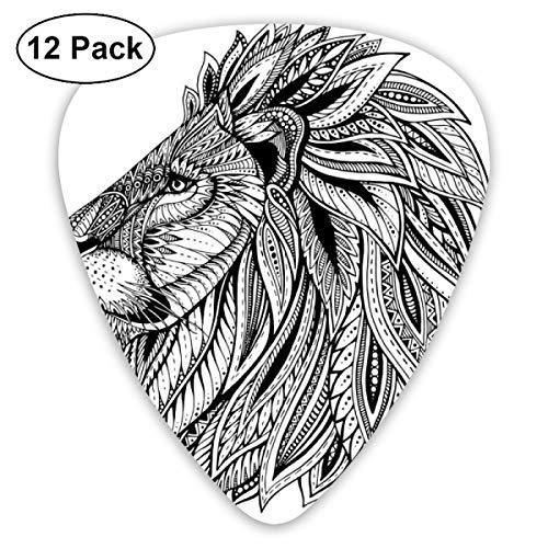 Guitar Picks12pcs Plectrum (0.46mm-0.96mm), Wilderness Savannah Animal With Ethnic Boho Mane Made From Leaves Illustration,For Your Guitar or Ukulele