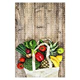 1000 Pieces Wooden Jigsaw Puzzle Vegetables Fruits Cotoon Bag Tomato Cucumber Broccoli Pineapple Fun and Challenging Board Puzzles for Adult Kids Large DIY Educational Game Toys Gift Home Decor