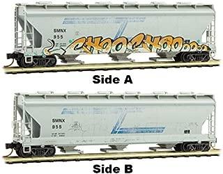 Micro-Trains MTL N-Scale 3-Bay Covered Hopper Solvay Minerals/SMNX Graffiti #955