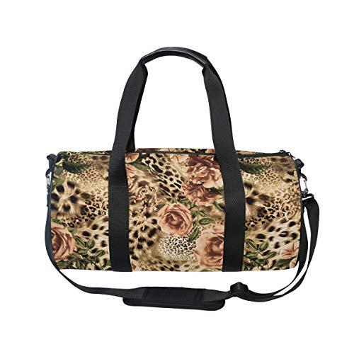 MNSRUU Reisetasche mit Leopardenmuster und Blumen, für Reisen, Unisex, hohe Kapazität, großes Gepäck, Sporttasche