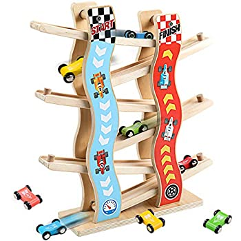 Migargle Ramp Racer Race Track for Toddlers and 8 Wood Cars Race Car Ramp Set
